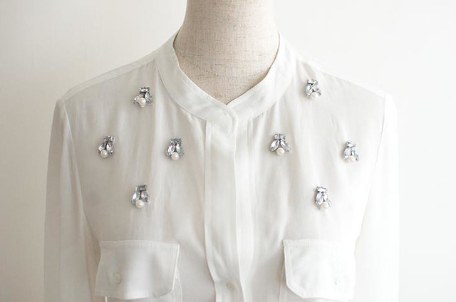 DIY Jewelled White Shirt