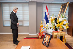 U.S. Secretary of State John Kerry offers his condolences for His Majesty King Bhumibol Adulyadej at the Royal Thai Embassy in Washington, D.C., on October 21, 2016. [State Department photo/ Public Domain]
