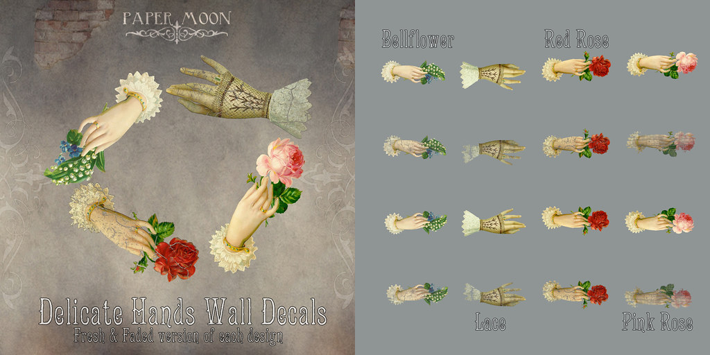 *pm* Delicate Hands Wall Decals - SecondLifeHub.com