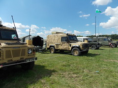 LAND ROVER'S LINED UP AND READY FOR INSPECTION AT DAMYNS HALL MILITARY AND CAR SHOW ESSEX ENGLAND  06-08-2016 DSCN1412