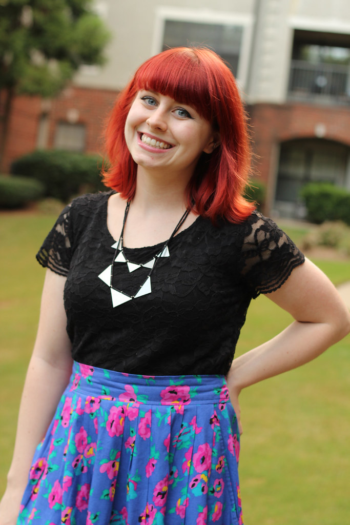 Silver Triangles Necklace from Modcloth, Black Lace Top, and Floral Skirt