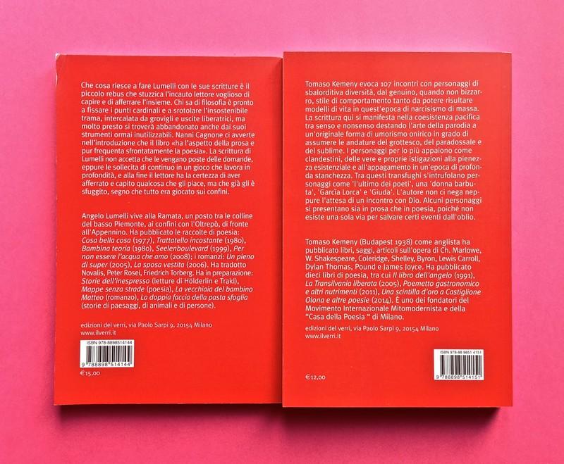 Edizioni del Verri / Collana rossa. Progetto grafico di Valerio Anceschi e Giovanni Anceschi. Due quarte di copertina (part.), 2