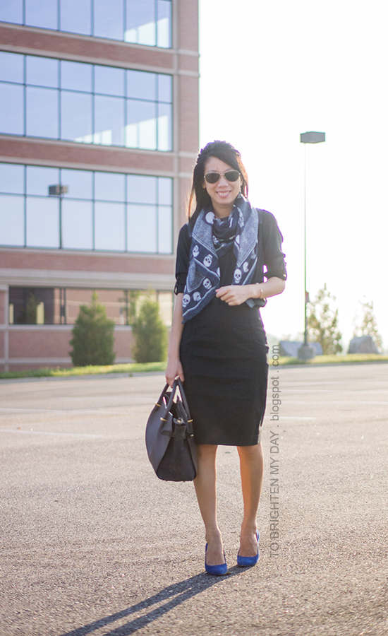 blue patterned scarf, black faux leather top, black pencil skirt, blue suede shoes