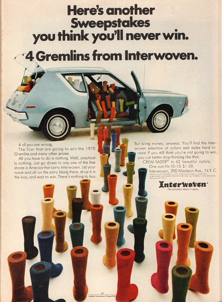 1970 American Motors Gremlin Interwoven Socks Contest Advertisement Playboy October 1970