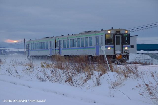 上り一番列車と日の出???