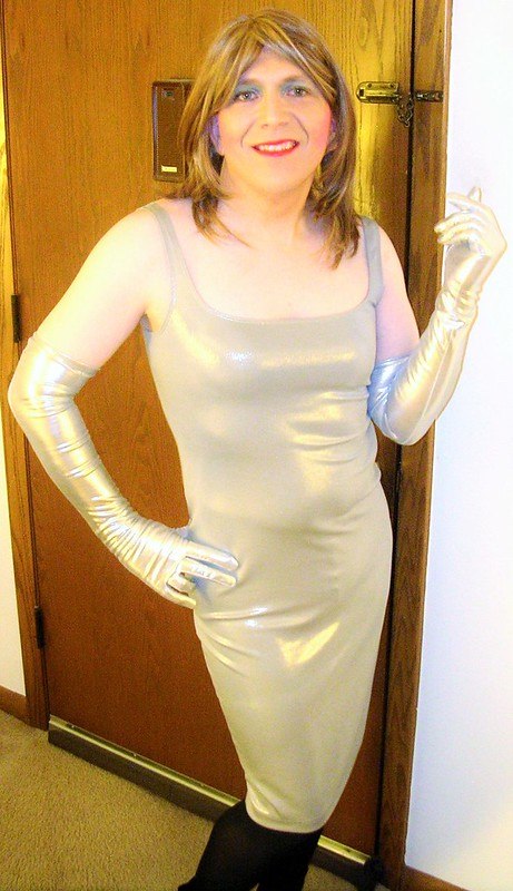Silver foil tank dress with gloves
