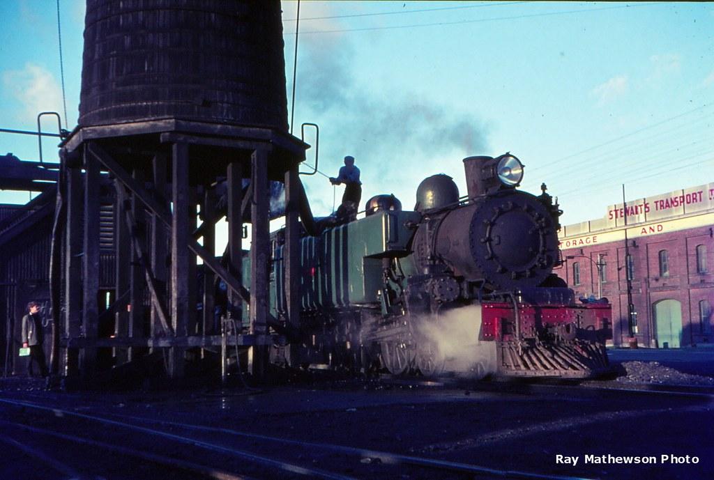 Wab ex Ohio Railway taking on water at Dunedin