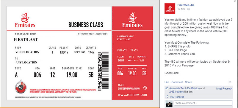 emirates air free business class contest
