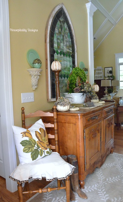 Fall Foyer Antique French Buffet Vignette