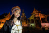 Thai people yeepeng lamp in Phra Singh temple
