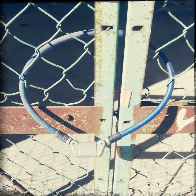 Locked with blue cable
