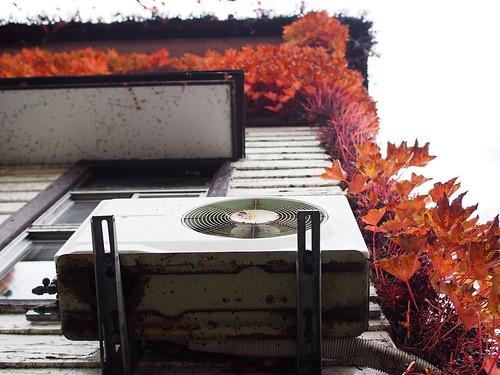 autumn red house japan outdoor air tint 日本 紅葉 秋 家 yamagata sakata conditioner unit 山形 室外機 赤 酒田 エアコン