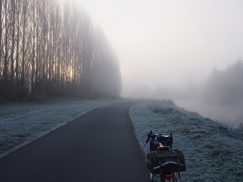 Ice Fog: This was utterly miserable.  My hands turned purple after 30 minutes of riding no matter what and my bottles were frozen solid.  22°F and 90% humidity is not cycling weather!