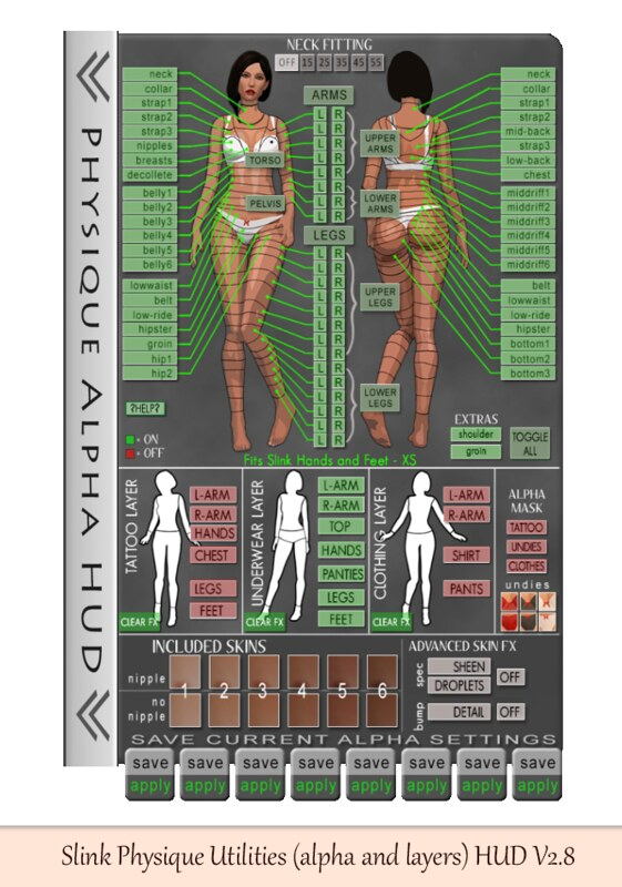 Slink Physique Utilities (alpha and layers) HUD V2.8