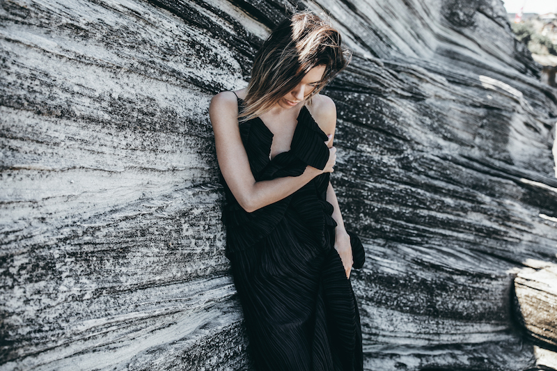 editorial new years eve all black outfit inspo Michael Lo Sordo gown beach modern legacy (7 of 10)
