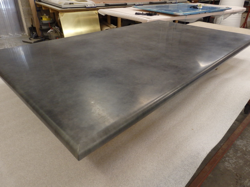 143   Bull Nosed Table Top, Zinc With Light Patina