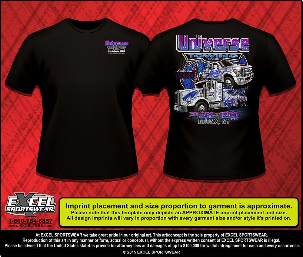 We Design Custom Towing Shirts - Excel Sportswear