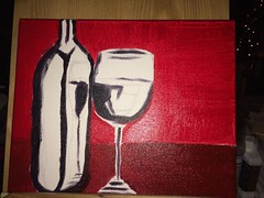 #WIP oil painting wine glass & bottle