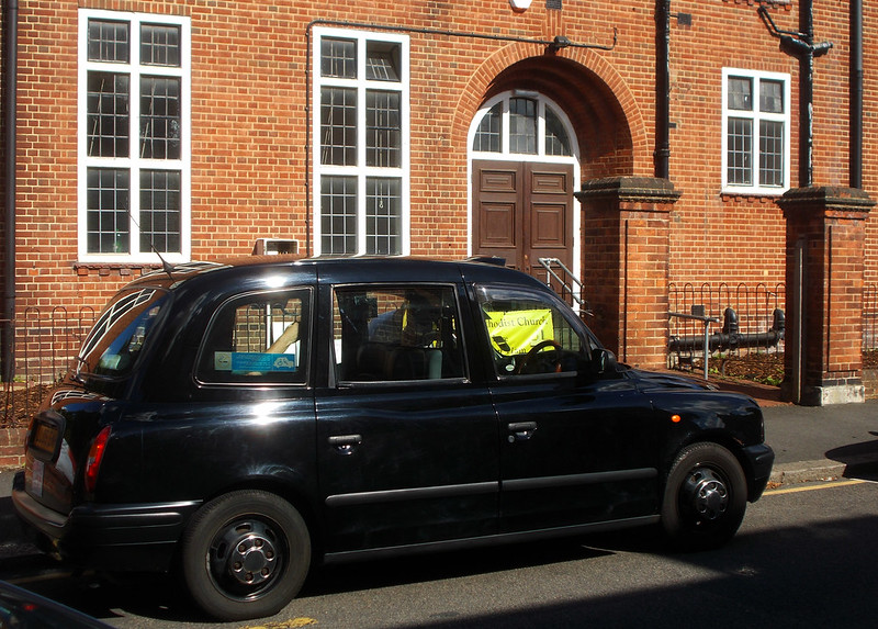 Thomas Wall Centre and London taxi cab, SUTTON, Surrey, Greater London