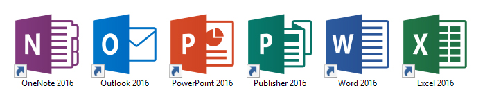 Microsoft Office 2016 For Windows Icons