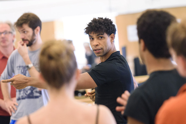 Carlos Acosta and dancers of The Royal Balletin rehearsal for Carmen, The Royal Ballet © 2015 ROH. Photograph by Tristram Kenton