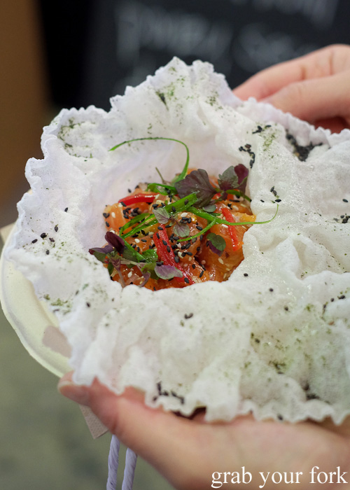 Clever Polly with Goulburn Trout rainbow trout tartare at Rootstock Sydney 2015