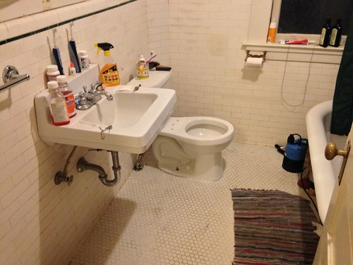 Our bathroom, updated to the current century with a low-flow toilet instead of the old 10 gpf one
