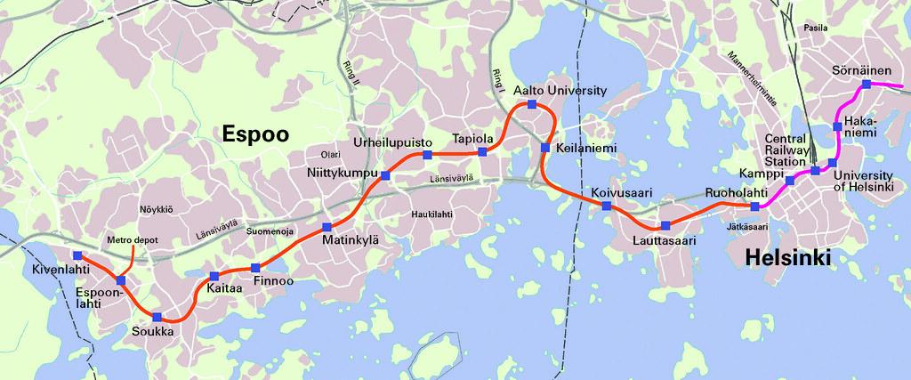 Metrokartta Eng Lansimetro Ruoholahti Kivenlahti Eng