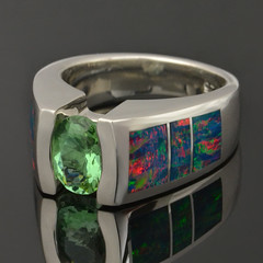 Alexandrite and Lab Opal Ring