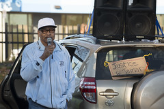 Jamar Clark's father speaks at a rally one year after police killed Jamar