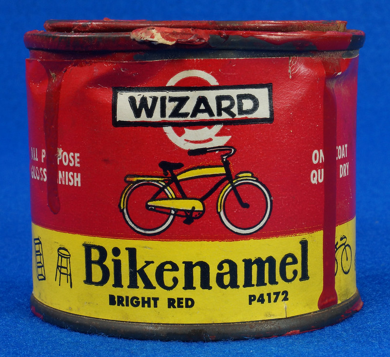 RD14755 Vintage Wizard Bikenamel Bright Red P4172 Bicycle Paint Quarter Pint DSC06305