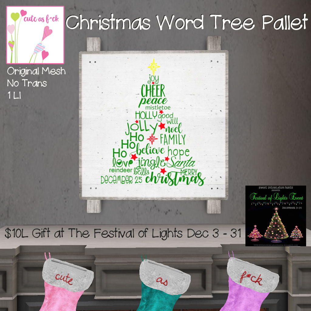 ::cute as f*ck:: Christmas Word Tree Pallet - ONLY $10L - SecondLifeHub.com