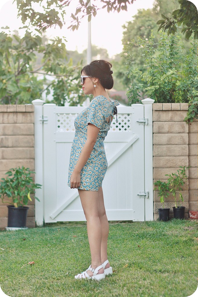 Sweets and Hearts outfit style featuring Boohoo #WeAreUSA floral romper, cat-eye sunglasses, white platform sandals