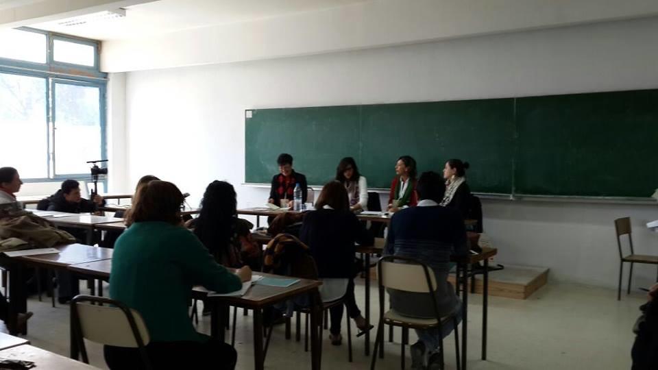 今年三月在突尼斯舉辦的世界社會論壇,ASWAT在工作坊介紹組織。(圖片來源:Aswat Voices)