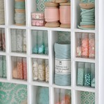 Mini shelves of craft supplies