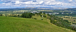 9 Dec 2010 - Panoramic view east from Huon Hill near the main lookout across to Lake Hume shows the Kiewa River in flood, Victoria, Australia