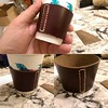 Quick little project tonight. Wanted to practice some of those butt end stitches for an upcoming valet project. This'll save on coffee cups at work. #green #thrifty #leather #leathercraft #coffee #coffeeaddict