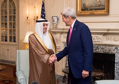 U.S. Secretary of State John Kerry greets Saudi Foreign Minister Adel al-Jubeir before their meeting at the U.S. Department of State in Washington, D.C., on September 2, 2015. [State Department photo/ Public Domain]