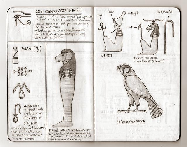 Carnet de voyage hiéroglyphique pages 14 et 15