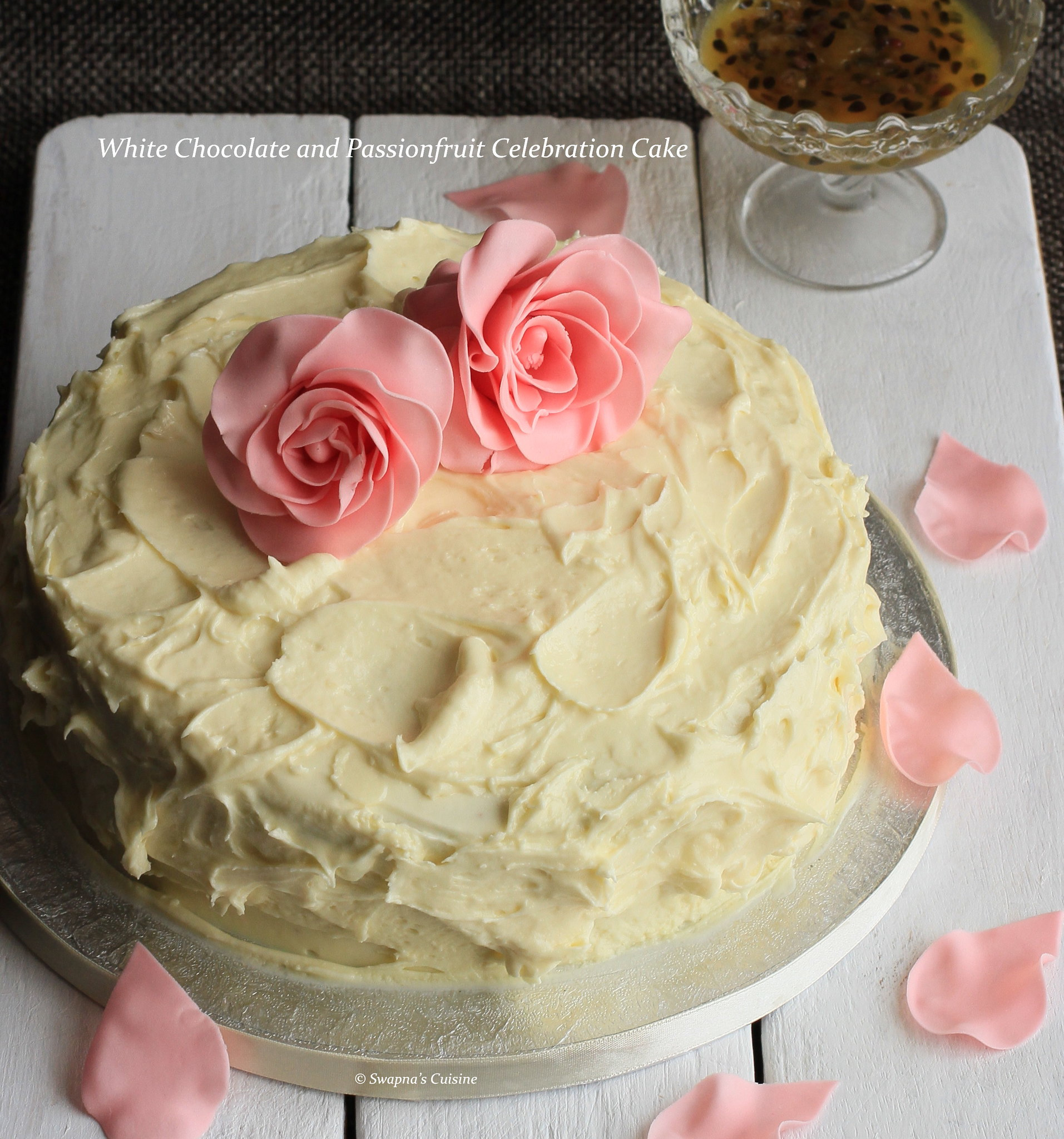 Recipe for White Chocolate and Passionfruit Celebration Cake,