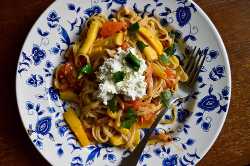 Fresh Lemon Linguine with Summer Vegetable Sauce & Seasoned Ricotta