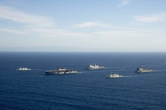 The Boxer Amphibious Ready Group, comprised of USS Boxer (LHD 4), USS New Orleans (LPD 18) and USS Harpers Ferry (LSD 49), along with HMCS Vancouver (FF 331) and HMCS Calgary (FF 335), steam in formation Nov. 5.  (U.S. Navy/MC3 Jesse D. Monford)