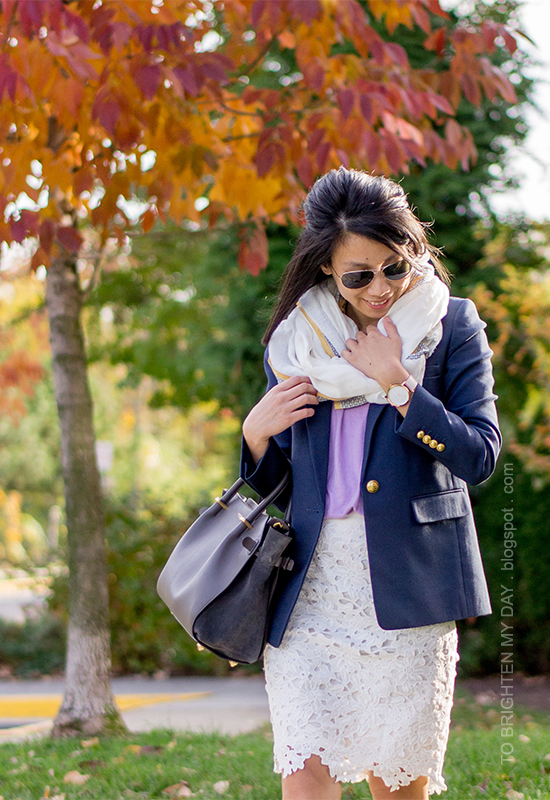 scarf, lilac sweater, navy blazer, oversized watch, lace pencil skirt