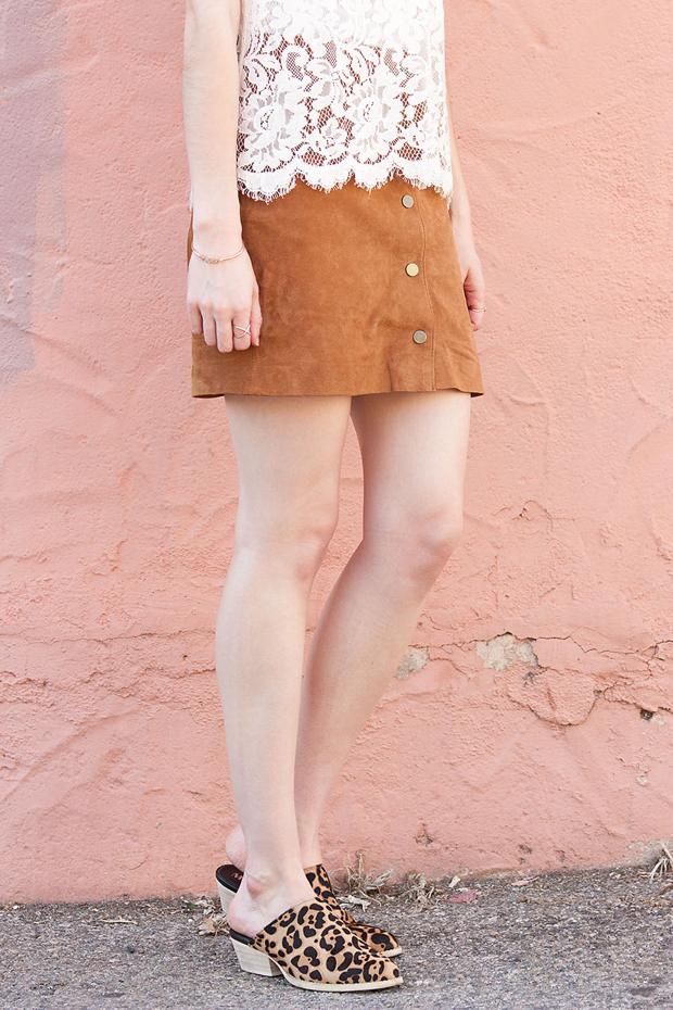 Button Front Suede Skirt, Marais Leopard Mules, Cowboy Mules, Loft Lace Tee