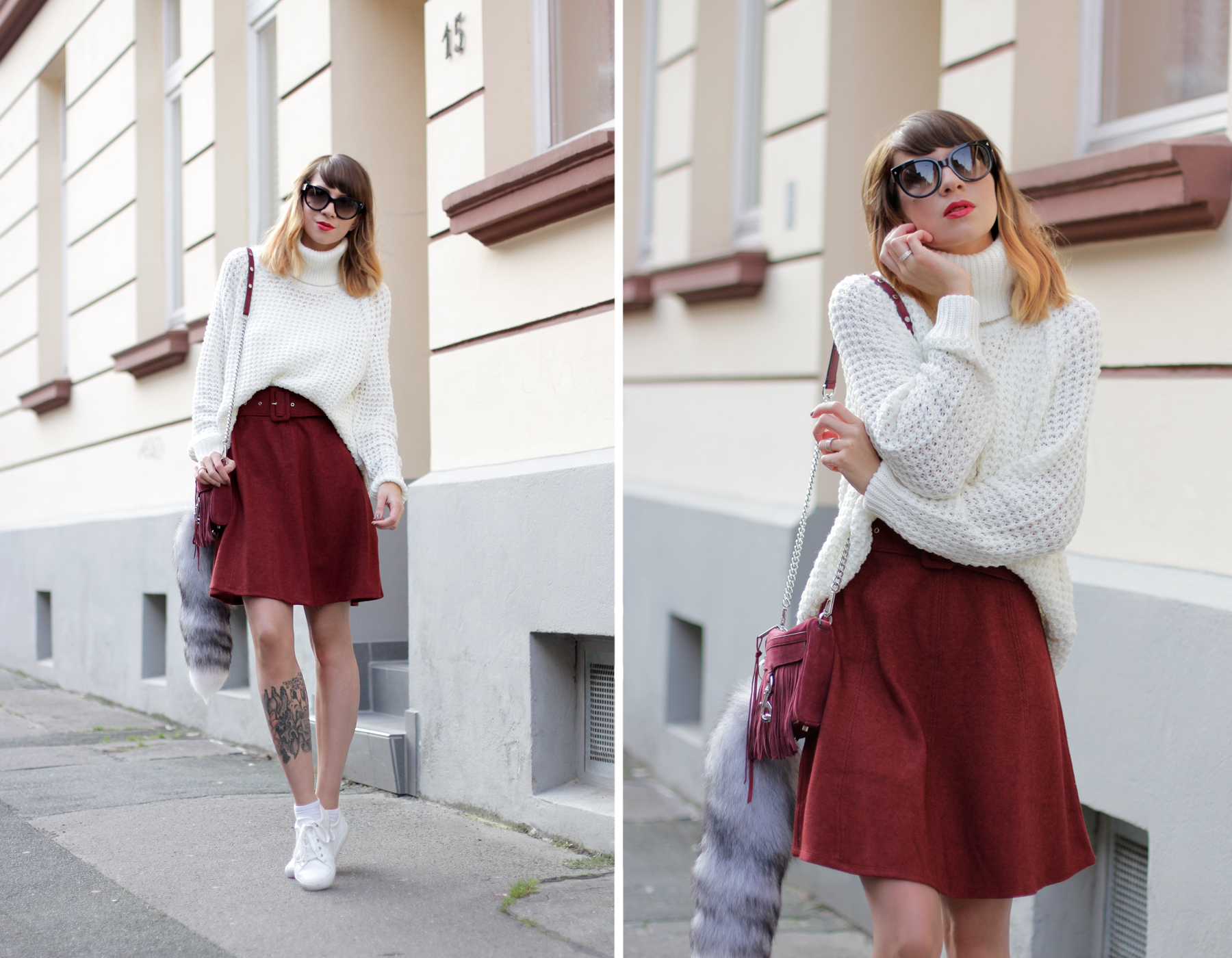 edited the label red burgundy a line skirt seventies soft white knit rebecca minkoff wine bag cross body cats & dogs fashionblogger ricarda schernus blog berlin hannover düsseldorf 2