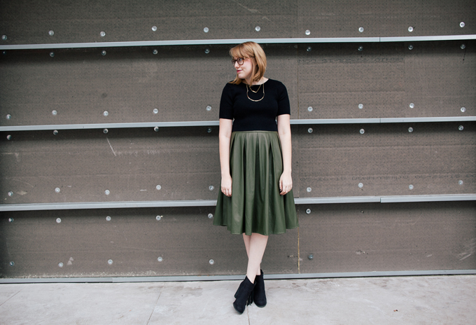 olive leather skirt crop top7