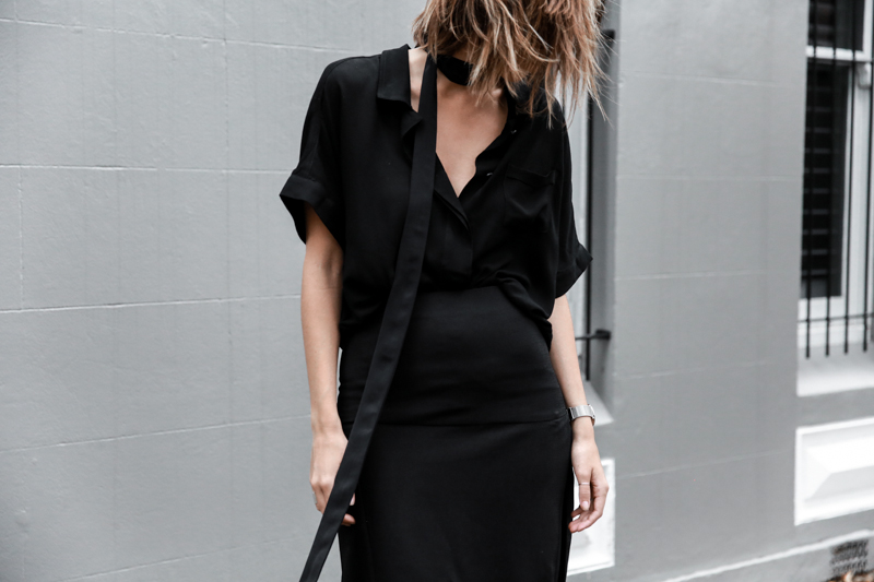 all black outfit, workwear, street style, skinny scarf, split skirt, Third Form, fashion blogger, modern legacy (1 of 1)-2