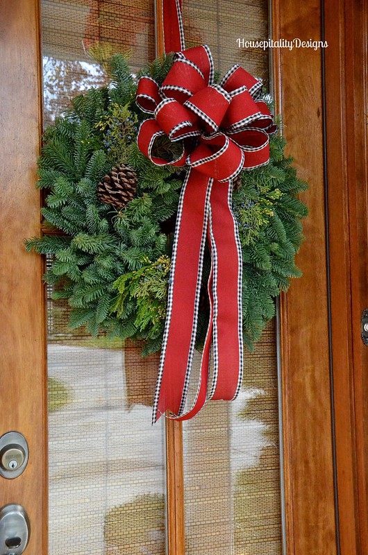 Christmas 2015 Front Porch/fresh wreath - Housepitality Designs