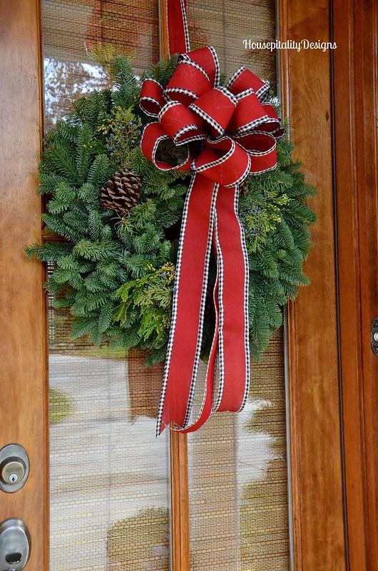 Christmas 2015 Front Porch/fresh wreath - Housepitality Designs