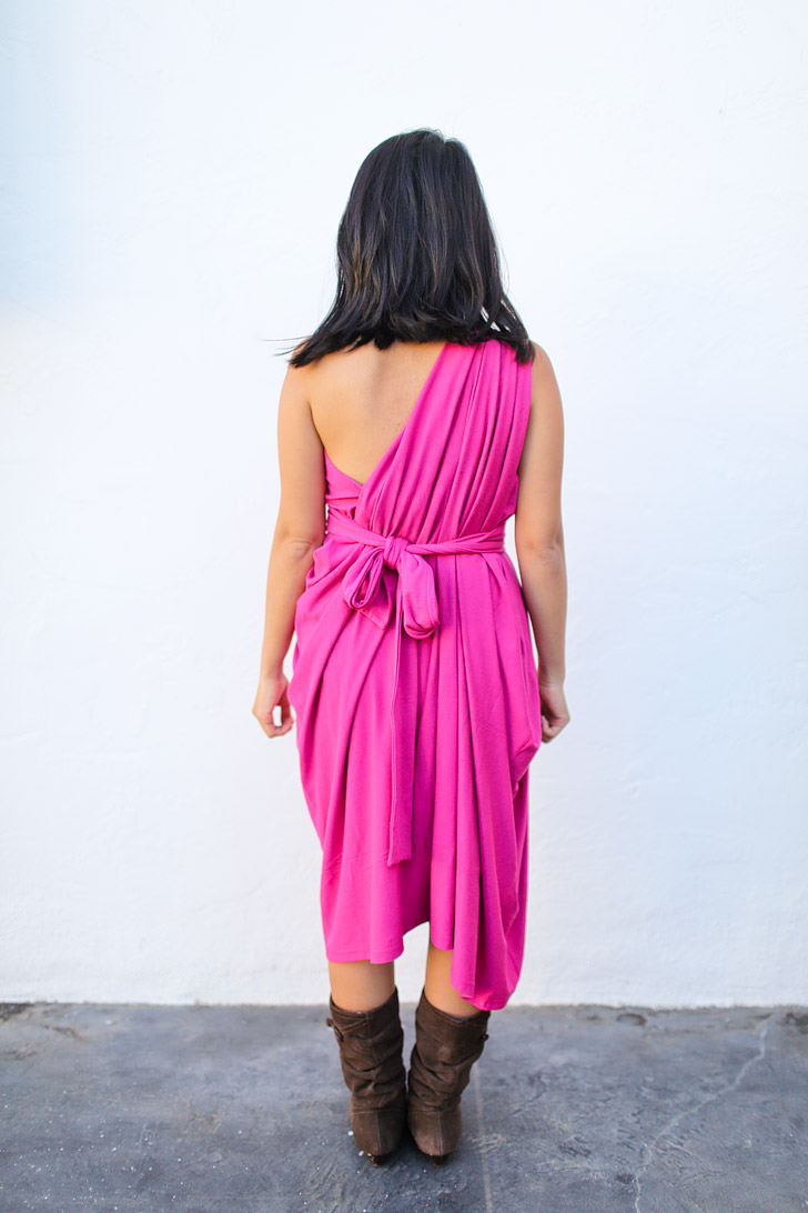 A Versatile Travel Scarf + Dress + Cardigan that can be worn 8+ Ways - The One Shoulder Dress Style - *Encircled Chrysalis Cardi Review*